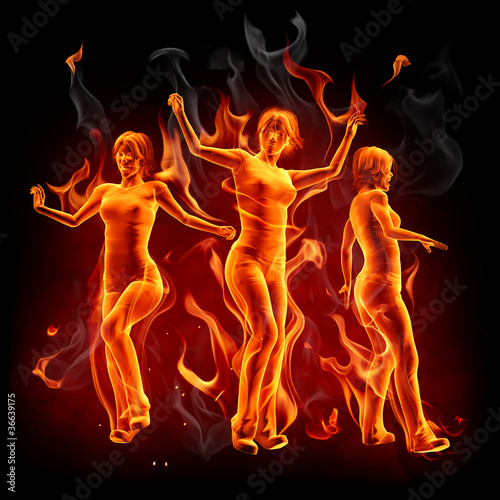 Poster Flamme Dancing fire girls