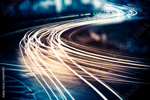 Spoed Fotobehang Nacht snelweg light trails