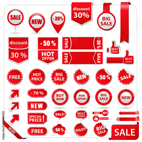 Fotografía  Vector red price tags, labels, stickers, arrows and ribbons