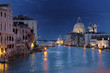 View on Grand Canal from Academy bridge in Venice at night
