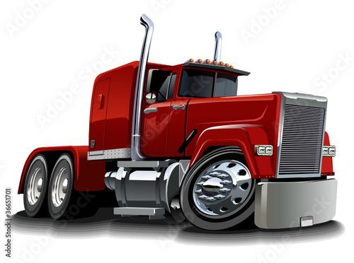 Cadres-photo bureau Voitures enfants Vector cartoon semi truck