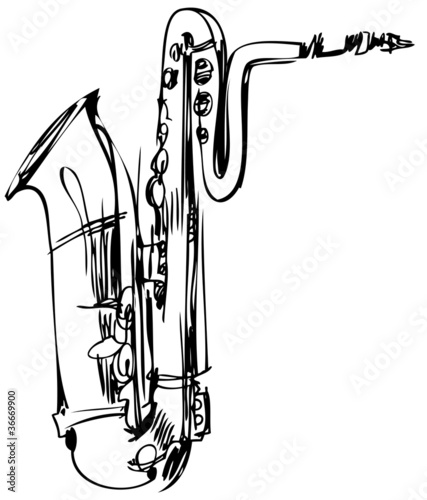 sketch of a brass musical instrument saxophone bass Wallpaper Mural