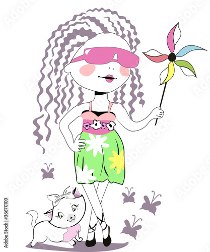 3fbf5b6fc825 Fashion baby girl in sunglasses with a cat - Buy this stock vector ...