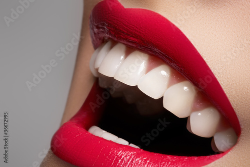 Fotografie, Obraz  Close-up happy female smile with healthy white teeth