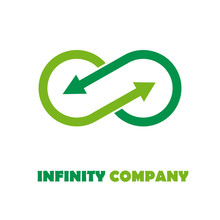 Logo Infinite With Arrows. Green Recycling # Vector