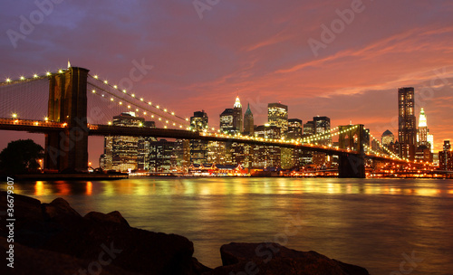Foto auf Leinwand Brooklyn Bridge Brooklyn Bridge mit Skyline bei Nacht