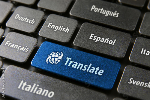 Fotografía  Online translation service concept