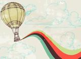 Retro gorącego powietrza balonu nieba tło - 36681508