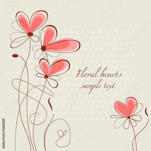 Tuinposter Abstract bloemen Floral hearts ornament