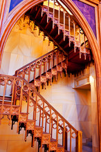 Wooden Staircase Inside Of Catholic Church