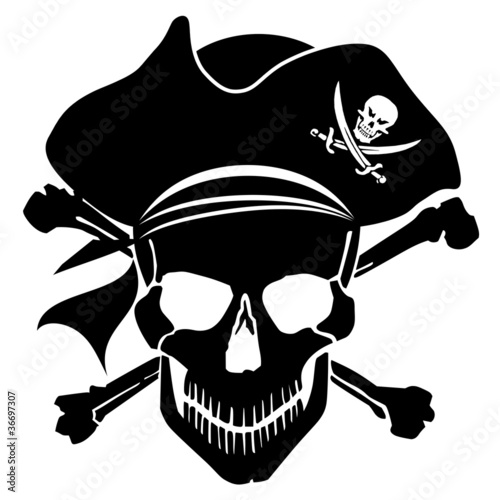 Fotografie, Obraz  Pirate Skull Captain with Hat and Cross Bones