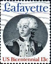 Lafayette. US Bicentennial. US Postage.