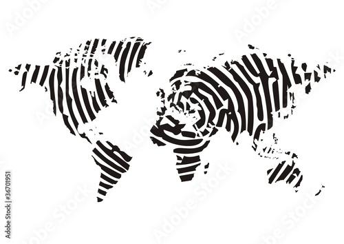 Valokuva  Weltkarte, Landkarte mit Fingerabdruck