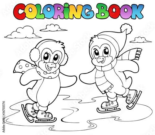 Tuinposter Doe het zelf Coloring book skating penguins