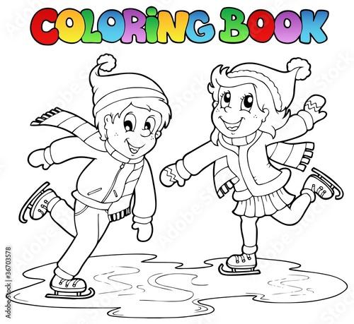Tuinposter Doe het zelf Coloring book skating boy and girl
