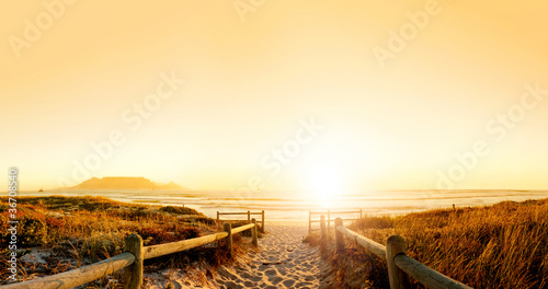 Foto op Canvas Strand Sunset HDR over the ocean