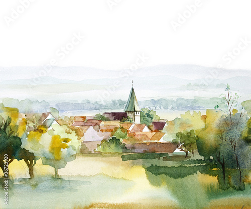 Spoed Foto op Canvas Wit Watercolor Landscape Collection: Summer