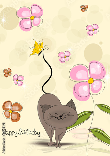 Printed kitchen splashbacks Cats Geburtstagskarte mit Katze