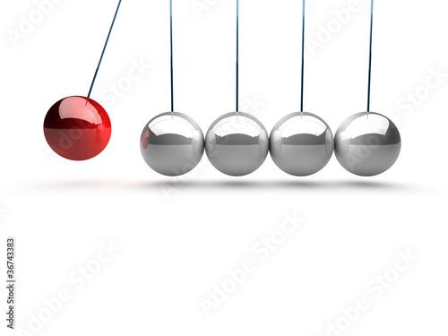 Fotografie, Obraz  balancing balls newtons cradle over white background