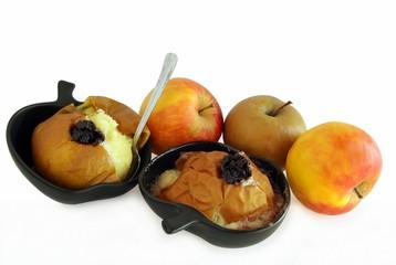 Naklejka na ściany i meble baked apples with cherry jam as dessert