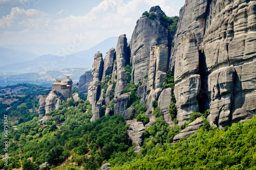 Fotografie, Obraz  Meteora panorama with The Holy Monastery of St. Nicholas Anapaus