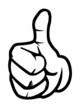 Leinwandbild Motiv hand daumen hoch oben ok brush pinselspitze