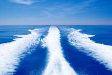 Boat Wake Prop Wash On Blue Oc...