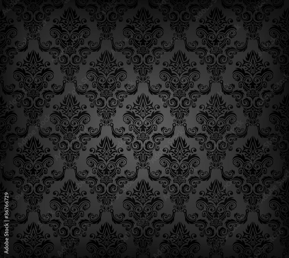 Vector illustartion of black seamless wallpaper pattern