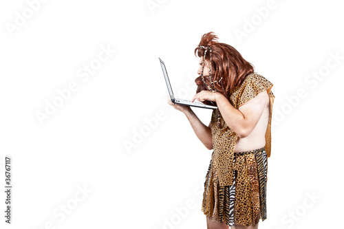 Caveman with a laptop computer (8). Poster