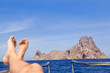 Ibiza relaxed Es Vedra boat bow view