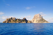 Es Vedra islet and Vedranell islands blue sea