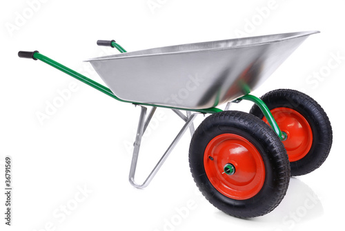 Fotografía  wheelbarrow isolated on a white background.