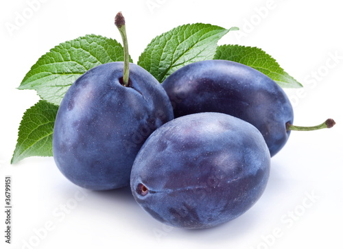 Group of plums with leaf. Wallpaper Mural