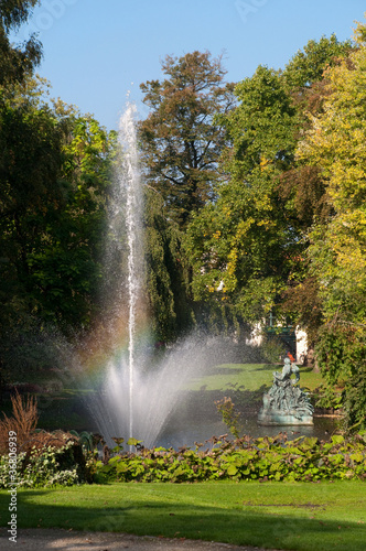 Photo  Fountain on Astridpark at Brugge - belgium