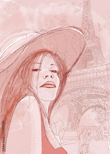 Poster de jardin Illustration Paris woman in autumn