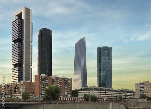 In de dag Madrid four modern skyscrapers (Cuatro Torres) Madrid, Spain