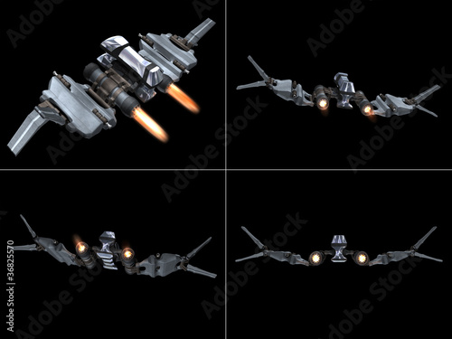 Four back views of a StarFighter in action фототапет
