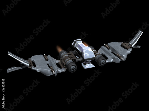 Front and up view of a StarFighter in action Wallpaper Mural