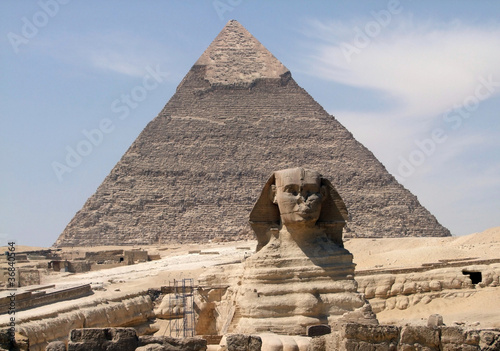 Tuinposter Egypte Pyramid of Khafre and Sphinx