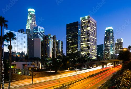 Staande foto Los Angeles Los Angeles downtown at night