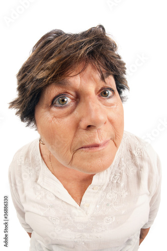 Photo Old woman fisheye portrait