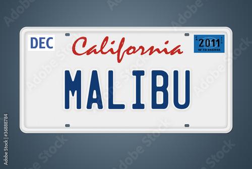 CA Nummernschild Malibu