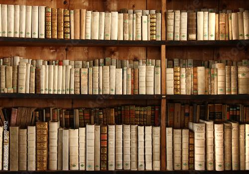 Poster Bibliotheque Bücherregal mit uralten Büchern