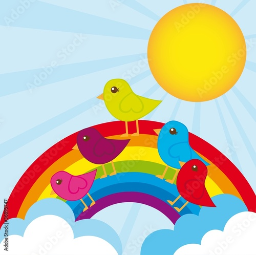 Poster Vogels, bijen rainbow and birds