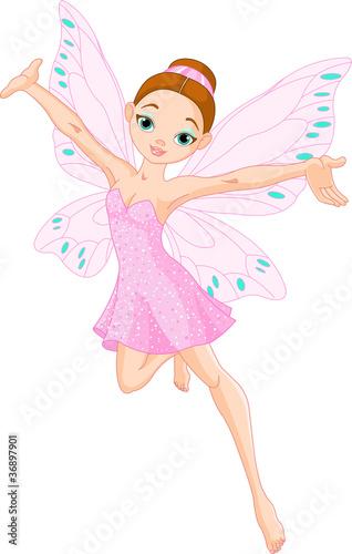 Foto auf Gartenposter Die magische Welt Cute pink fairy