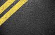 canvas print picture - black asphalt yellow markings