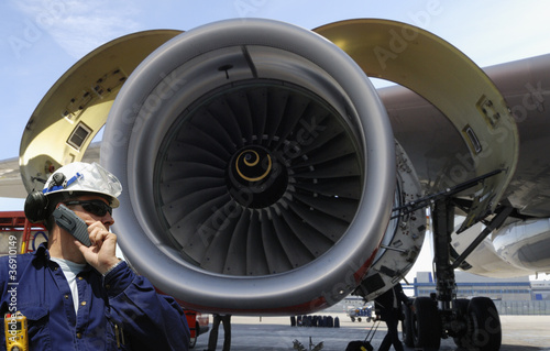 Fotografie, Obraz  engineer and large jet engine