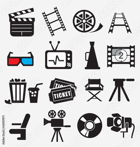Movie icon set Wallpaper Mural