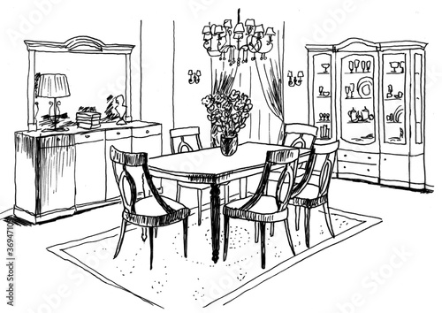 Photo sur Toile Drawn Street cafe Graphic sketch, living room, liner