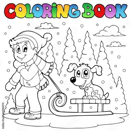 Tuinposter Doe het zelf Coloring book winter theme 1